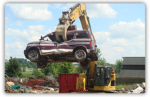 Junk Vehicle Being Scrapped